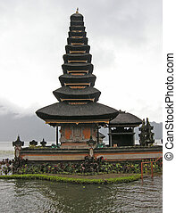 Buddhist temple on lake Bratan, Bali, Indonesia - Famous...