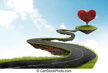 The road to Heart tree - road suspended in the sky towards...
