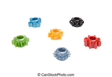 colorido, anillos, pene, Erección
