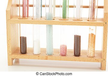 Some filled test tubes in a pharmaceutical laboratory