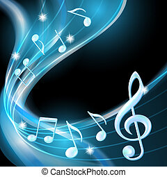 Blue abstract notes music background Vector illustration