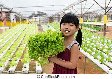 enfant, tenue, légume