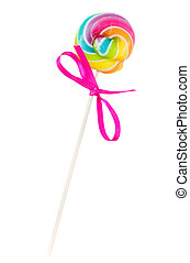 small spiral lolly pop candy isolated on white background