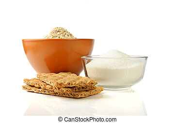 carbohydrate foods - oat, sugar and rye crisps: carbohydrate...