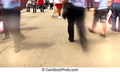 fast people - timelapse of fast walking people in city with...