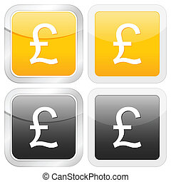 square icon british pound set on white background. Vector...
