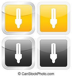 square icon energy saving bulb
