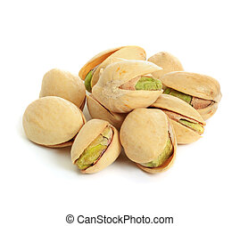 Pistachio isolated - Heap of pistachios nuts isolated om the...