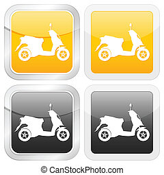 square icon scooter set on white background Vector...