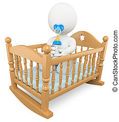 3D white people. Baby in the crib - 3d white baby in crib...