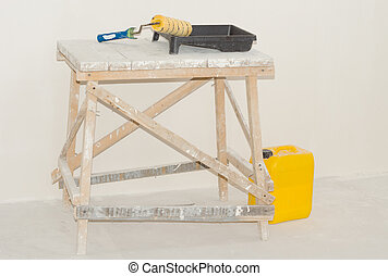 Painting equipment consisting of a roller , paint tray and...