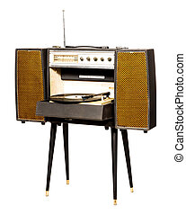 Vintage record player with radio tuner isolated on white...