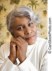 African American woman. - Portrait of mature African...
