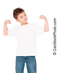 Happy boy showing his muscles isolated on white background