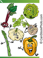 vegetables cartoon illustration set - Cartoon Illustration...