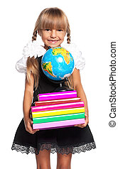 Little girl with globe - Happy little girl with books and...