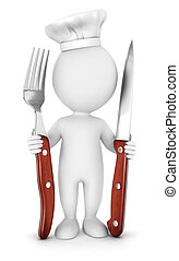 3d white people with fork and knife - 3d white people chef...