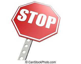 Stop road sign - Hi-res original 3d-rendered computer...