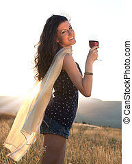 Wine drinking at golden hour
