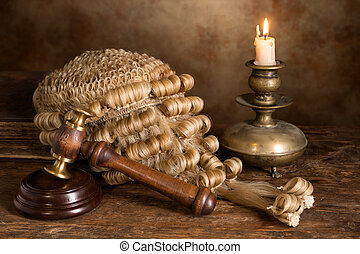Still life with judges wig - Still life with candle, judges...