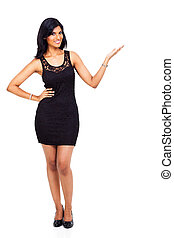 fabulous young indian woman presenting on white background