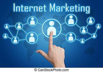 pressing internet marketing icon - woman hand pressing...