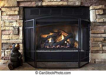 Country Warmth - A gas log fireplace provides both emotional...