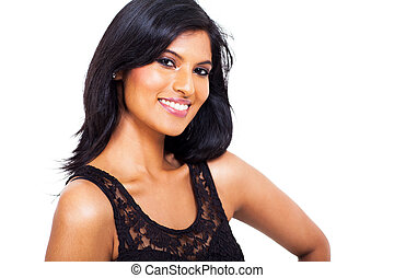 gorgeous indian woman against white background