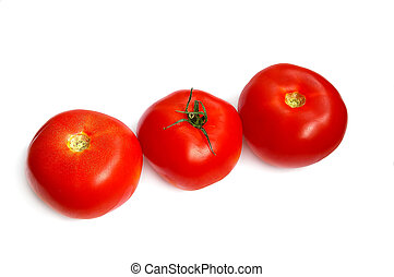 Three tomatoes in a row