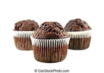 Chocolate muffin - Three chocolate muffins isolated on the...