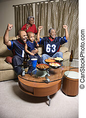 Family watching sports - A three generation African-American...
