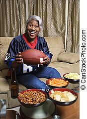 Woman football fan.