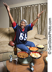 Woman sport fan. - Portrait of a Middle-aged...