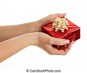 Women's, hands, giving, gift