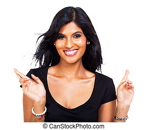 cheerful woman wishing good luck - portrait of cheerful...