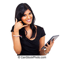 businesswoman doing call me sign - happy indian...