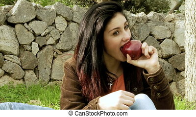Eating apple healthy life - Healthy lifestyle of young woman...