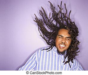 African - american, hombre, el suyo, Dreadlocks, movimiento