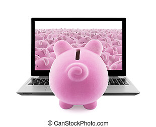 Piggy banks and laptop