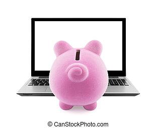 laptop, Schweinchen,  bank