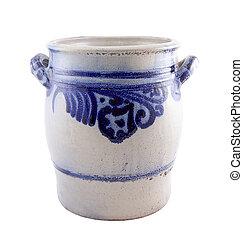 Old ceramic jug isolated on white
