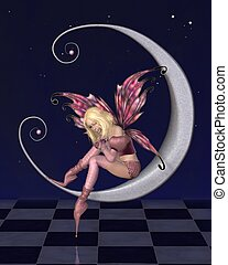 Pretty Pink Moon Fairy with Stars