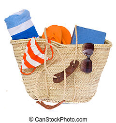 sunbathing accessories in basket - sunbathing accessories...