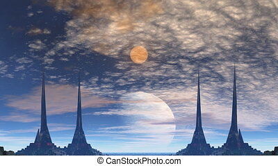 Towers of aliens, gas giant and moo - High towers with sharp...