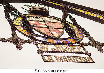 ramblas, entrada, Mercado, emblema,  La,  Boqueria, famoso,  Barcelona, calle, principal, españa