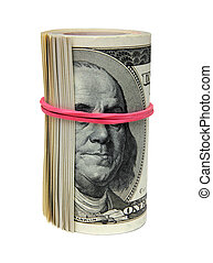concept of bribery - roll of 100 dollar bills, tie blind eye...