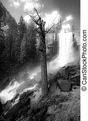 Vernal waterfall - Black and white scenic view of mist trail...