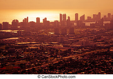 Sunset over downtown Miami
