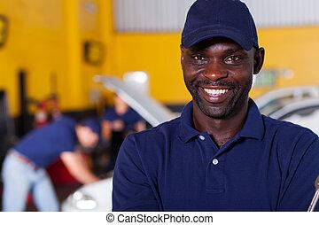 Afričan, mužský, vůz, mechanický