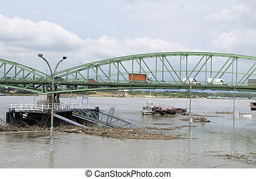 Danube River Flood in Komarom - High water level of Danube...